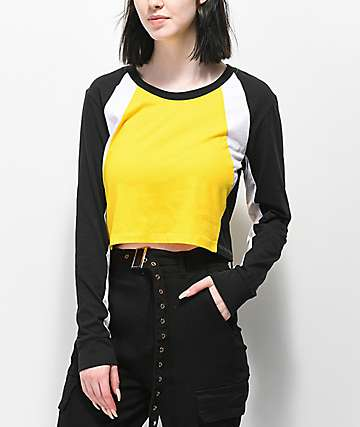 Empyre Drift Yellow Colorblock Crop Long Sleeve T-Shirt