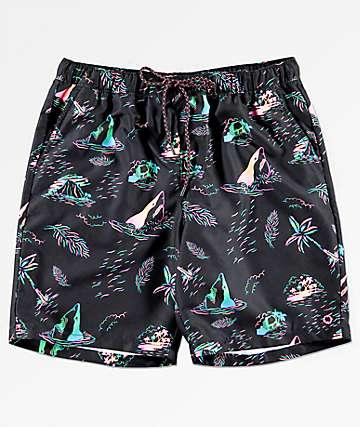 Empyre Dubtub Island shorts de baño en negro y multicolor neón con pretina elástica