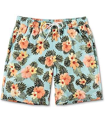 Empyre Dubtub Mint & Floral Elastic Waist Board Shorts