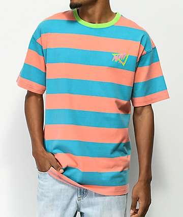 Empyre Dude camiseta a rayas rosas y azules