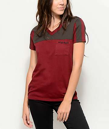 Empyre Durelle Stay Rad Burgundy V-Neck T-Shirt