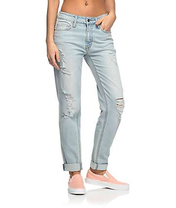 Empyre Easton Destroyed Boyfriend Light Wash Jeans