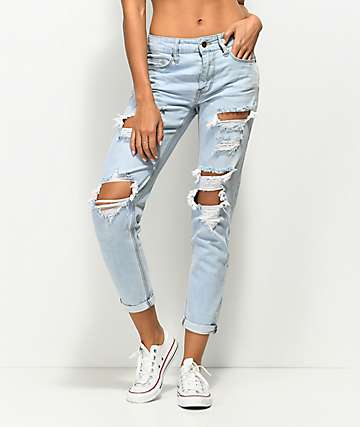 Empyre Easton Distressed Light Vintage Wash Boyfriend Jeans