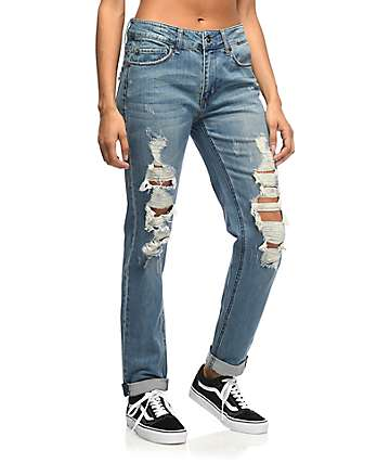 Empyre Easton Med-Wash Shredded Boyfriend Jeans
