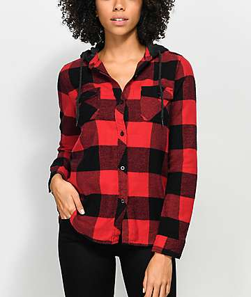 Empyre Eddy Red & Black Buffalo Plaid Hooded Flannel Shirt