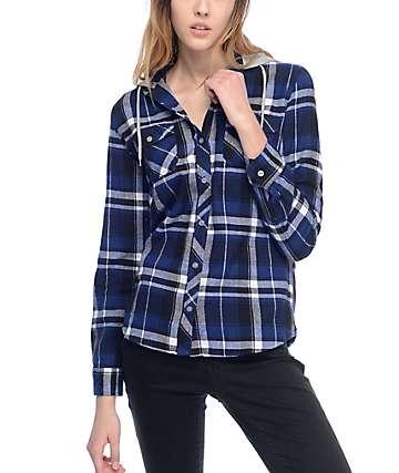 Empyre Eddy camisa de franela con capucha en azul marino y negro