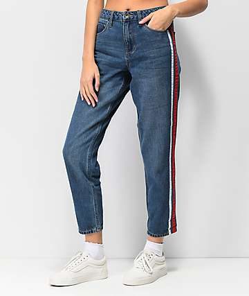 Empyre Eileen Side Stripe Medium Wash Mom Jeans