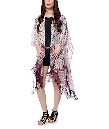 Empyre Elephant Cream & Burgundy Kimono Scarf