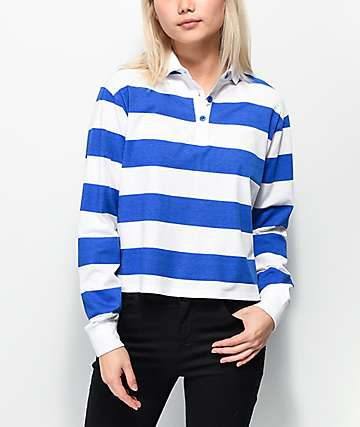 Empyre Elexis Rugby Blue & White Striped Crop Long Sleeve T-Shirt