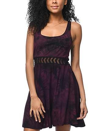 Empyre Estella Insert vestido con efecto tie dye en color vino
