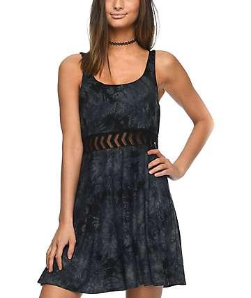 Empyre Estella Insert vestido negro con efecto tie dye