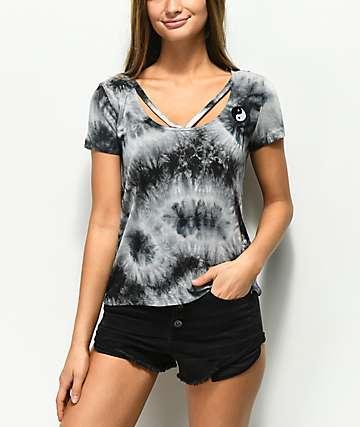 Empyre Fannie Yin Yang camiseta negra con efecto tie dye