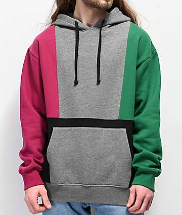 Empyre Fast Break Purple, Grey, Green & Black Colorblock Hoodie