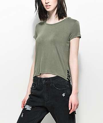 Empyre Fawna camiseta con cordones laterales en verde olivo