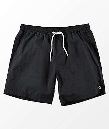 Empyre Floater Black Nylon Elastic Waist Board Shorts