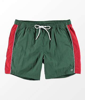 Empyre Floater Green & Red Elastic Waist Board Shorts