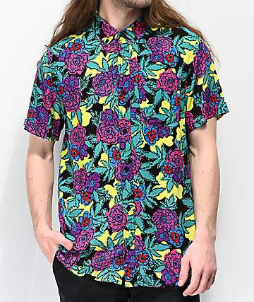 Empyre Floral Black, Yellow & Teal Woven Short Sleeve Button Up Shirt