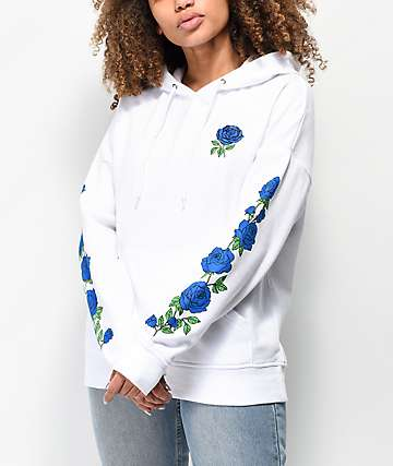 Empyre Fredia Blue Rose White Hoodie