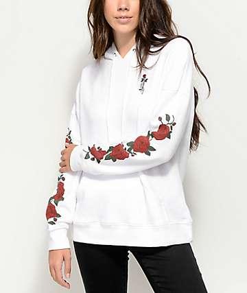 Empyre Fredia sudadera con capucha blanca de rosas