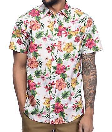 Empyre Fredrico Pink Tropical Short Sleeve Button Up Shirt