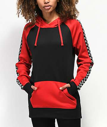 Empyre Frosty Red Checkers Tech Fleece Hoodie