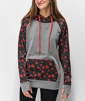 Empyre Frosty Roses & Grey Tech Fleece Hoodie