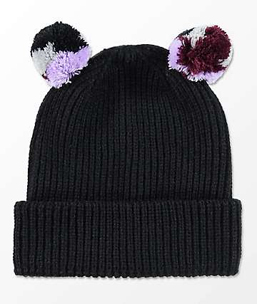 Empyre Gemma Double Mini Pom Black Beanie
