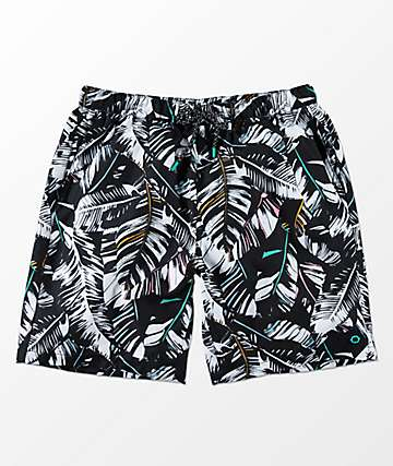 Empyre Grom Black & White Palm Elastic Waist Board Shorts