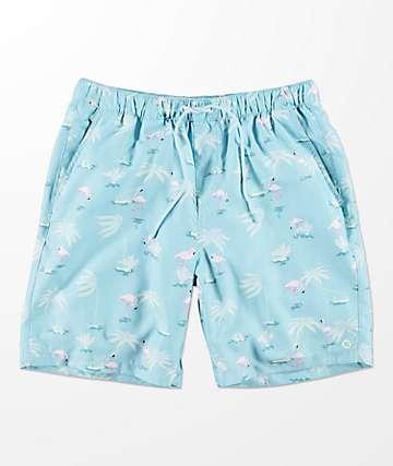 Empyre Grom Flamingo Vintage Blue Elastic Waist Board Shorts