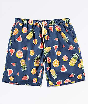 Empyre Grom Fruit Navy Elastic Waist Board Shorts