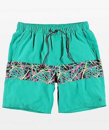 Empyre Grom Mint Splatter Elastic Waist Board Shorts