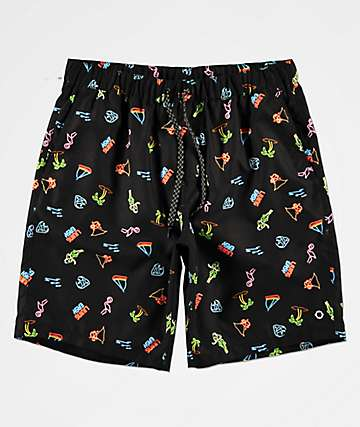 8e8c87d0de Empyre Grom Neon Light Black Elastic Waist Board Shorts