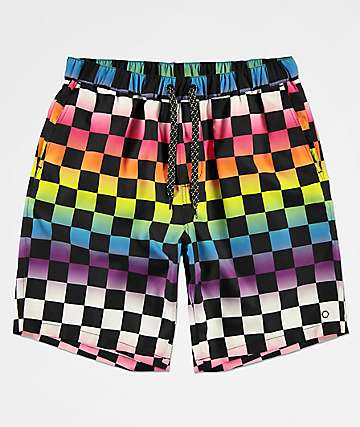 97dc554640 Empyre Grom Rainbow Checker Boardshorts