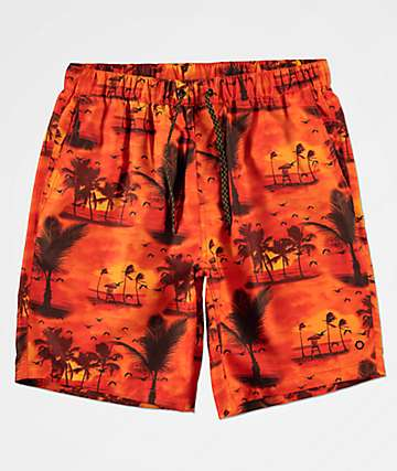 Empyre Grom Tropical Orange Elastic Waist Board Shorts