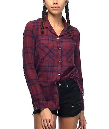 Empyre Hadley Destroyed Burgundy & Navy Plaid Button Up Flannel Shirt