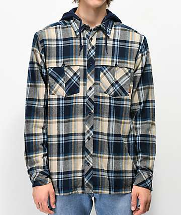 Empyre Harry Charcoal & Blue Hooded Flannel Shirt