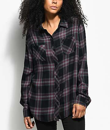 Empyre Havana Black Plaid Button Up Shirt