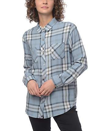 Empyre Havana Blue Plaid Button Up Shirt