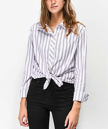 Empyre Havana Red, White & Blue Tie Front Button Up Shirt