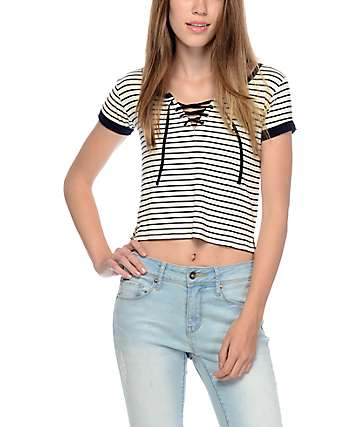 Empyre Hawn Lace Up Black & White Stripe T-Shirt