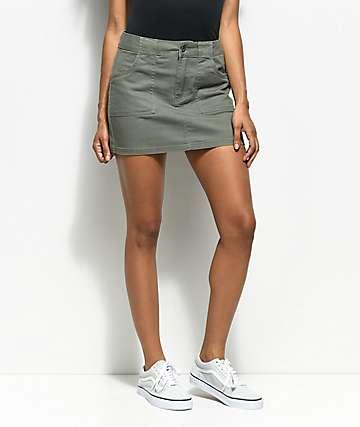 Empyre Hawthorne Olive Twill Mini Skirt