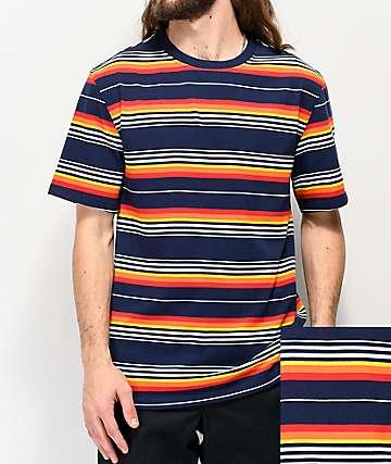 Empyre Hazy Navy & Orange Striped T-Shirt