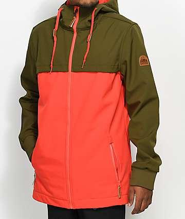 Empyre Headwall 10K chaqueta softshell en verde oliva y rojo