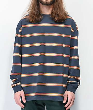 Empyre Hedgy Navy Blue Striped Long Sleeve T-Shirt
