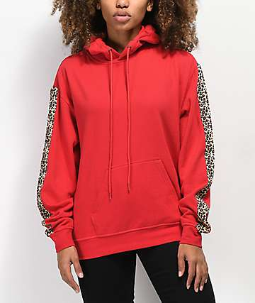 Empyre Hedwig Leopard Striped Red Hoodie