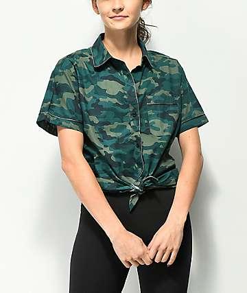 Empyre Hilo Camo Tie Front Button Up Shirt