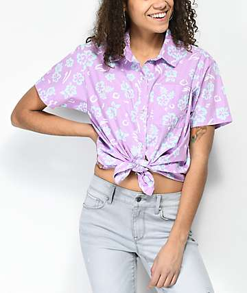Empyre Hilo Floral Tie Front Short Sleeve Button Up Shirt