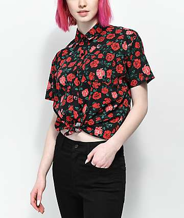 Empyre Hilo Roses Tie Front Short Sleeve Button Up Shirt