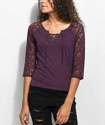 Empyre Holly Purple Lace Long Sleeve T-Shirt