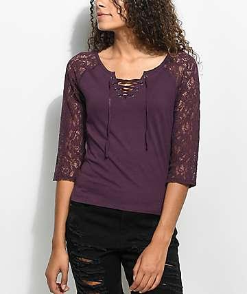 Empyre Holly camiseta morada de manga larga de encaje